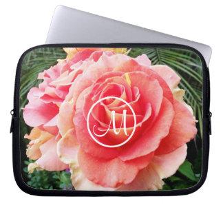 Chic soft pink rose close-up photo custom monogram laptop sleeve