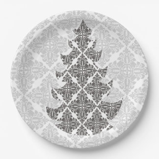 Chic Sophisticated Damask Lace Christmas Tree 9 Inch Paper Plate