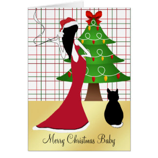 Chic Sophisticated Merry Christmas Baby Card