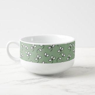 CHIC SOUP MUG/BOWL_390 SOFT GREEN/WHITE FLORAL SOUP MUG
