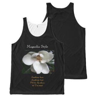 CHIC  SOUTHERN MAGNOLIA STYLE_ FLORAL All-Over PRINT SINGLET