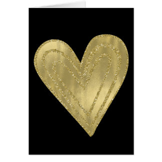 Chic Sparkly Gold Heart Card