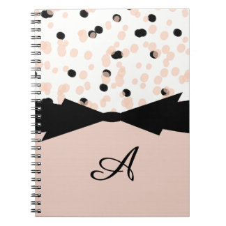 CHIC SPIRAL NOTEBOOK_BLUSH/BLACK DOTS WITH BOW NOTEBOOKS