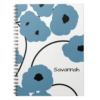 CHIC SPIRAL NOTEBOOK_MOD BLUE & BLACK POPPIES NOTE BOOK