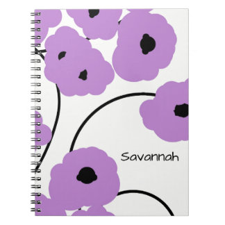 CHIC SPIRAL NOTEBOOK_MOD & LAVENDER BLACK POPPIES SPIRAL NOTEBOOKS