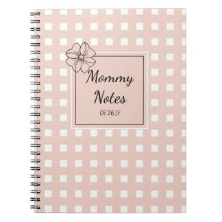 CHIC SPIRAL NOTEBOOK_MOMMY NOTES_PINK GINGHAM SPIRAL NOTE BOOKS