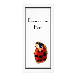 Chic Spotted Ladybug With Name Rack Card Design