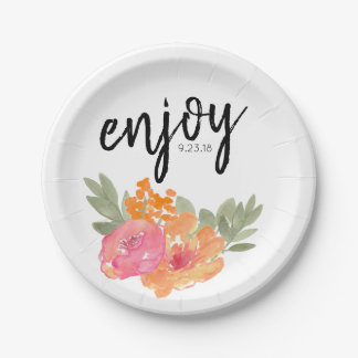Chic Spring Wedding Floral Pink Flower Paper Plate