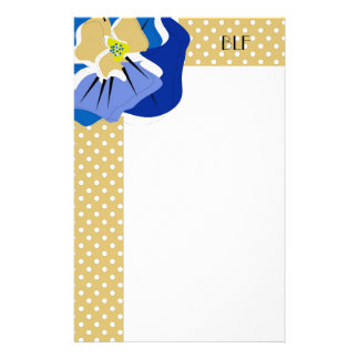 chic stationary,BLUE  PANSY Personalized Stationery