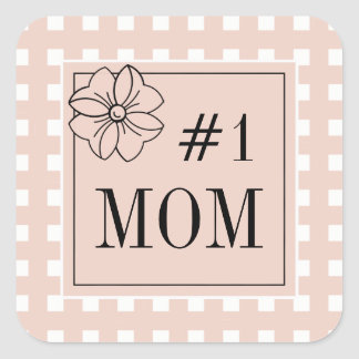 CHIC STICKER_#1 MOM_ GINGHAM_PALE DOGWOOD SQUARE STICKER