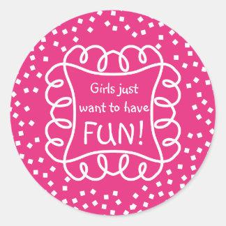 CHIC STICKER_GIRLY/FUN_ HOT PINK/WHITE  DIY CLASSIC ROUND STICKER