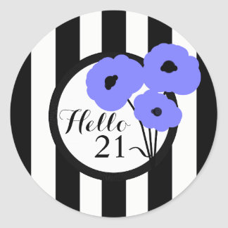 CHIC STICKER_MOD PERIWINKLE POPPIES CLASSIC ROUND STICKER