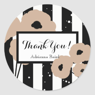 CHIC STICKER_MOD THANK YOU! HAZELNUT POPPIES CLASSIC ROUND STICKER