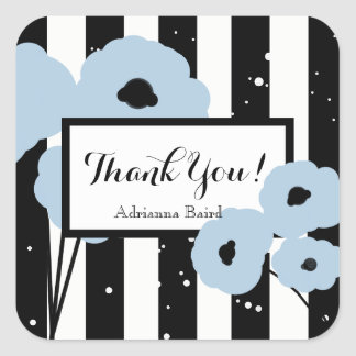 CHIC STICKER_MOD THANK YOU!_ SOFT BLUE POPPIES SQUARE STICKER