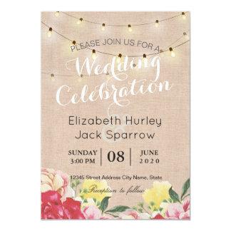 Chic String Lights Floral Linen Wedding Invitation