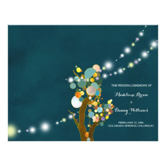Chic String Lights Teal Wedding BiFold Program Flyer