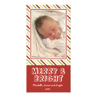 Chic stripe merry bright Christmas family photo Custom Photo Card