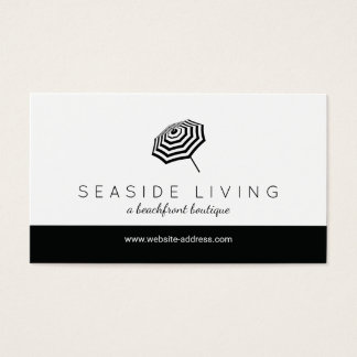 Chic Striped Beach Umbrella Logo Boutique Business Card