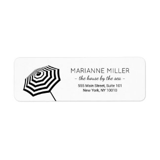 Chic Striped Beach Umbrella Logo Return Address Label