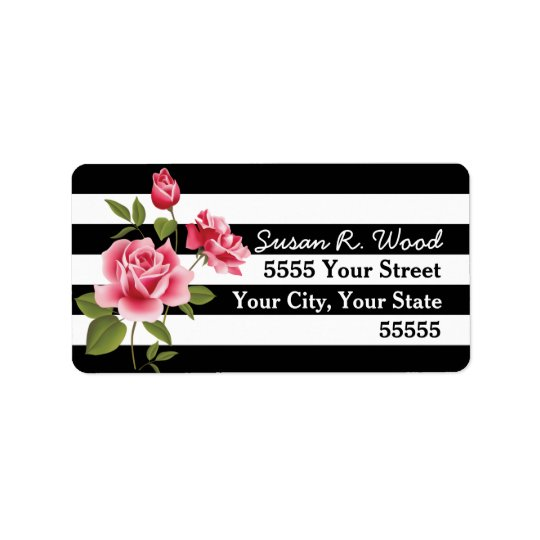 Chic Stripes and Roses Address Labels