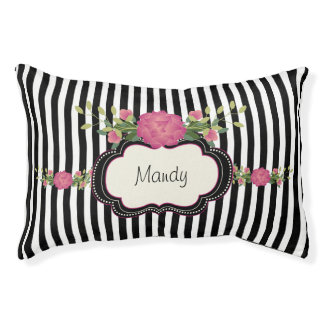 Chic Stripes and Roses Custom Pet Bed