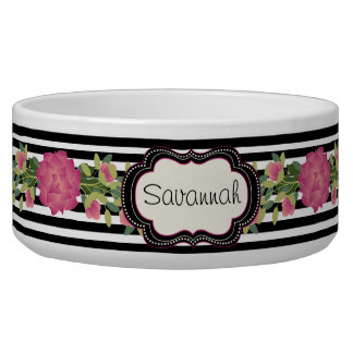 Chic Stripes and Roses Custom Pet Bowl