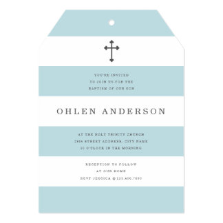 Chic Stripes Baptism Card