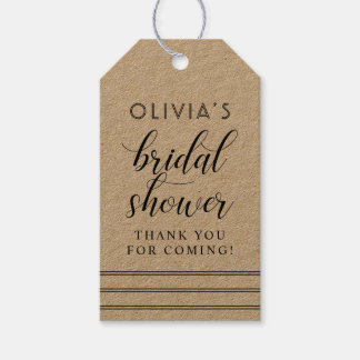 Chic Stripes | Kraft Bridal Shower Gift Tags