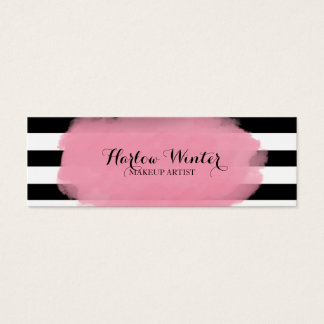 Chic Stripes Pink Black White Makeup Artist Mini Business Card