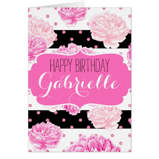 Chic Stripes Pink Floral Watercolor Happy Birthday Card