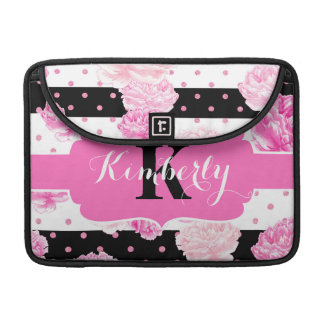 Chic Stripes Pink Watercolor Floral Monogram Sleeve For MacBook Pro