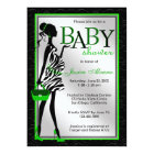 Chic Stylish Modern Mum Green Zebra Baby Shower Card