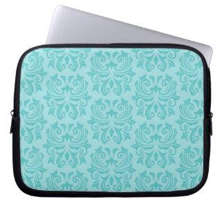 Chic stylish ornate aqua blue damask pattern computer sleeves
