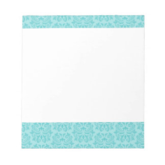 Chic stylish ornate aqua blue damask pattern notepad