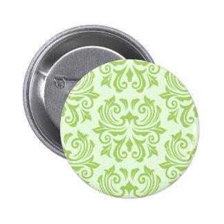Chic stylish ornate lime green damask pattern pin