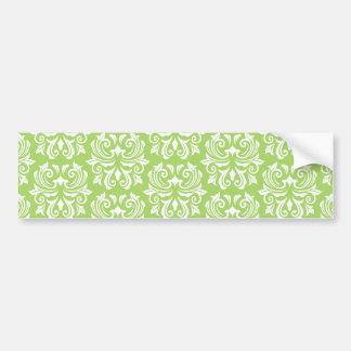 Chic stylish ornate lime green damask pattern bumper sticker