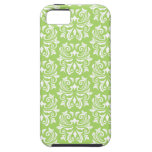 Chic stylish ornate lime green damask pattern case for the iPhone 5