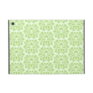 Chic stylish ornate lime green damask pattern covers for iPad mini