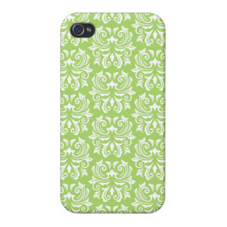 Chic stylish ornate lime green damask pattern covers for iPhone 4