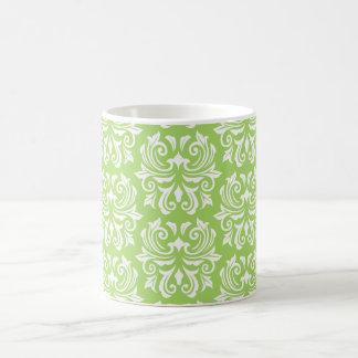 Chic stylish ornate lime green damask pattern mug
