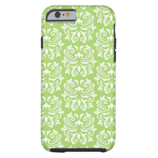Chic stylish ornate lime green damask pattern tough iPhone 6 case