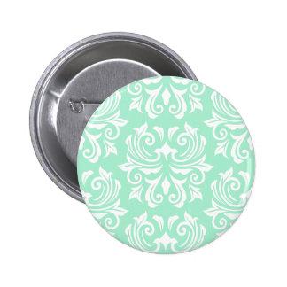 Chic stylish ornate mint green damask pattern buttons