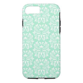 Chic stylish ornate mint green damask pattern iPhone 7 case