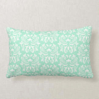 Chic stylish ornate mint green damask pattern lumbar pillow
