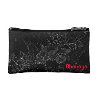 Chic Stylish Pink Black White Orchid Print Makeup Bag