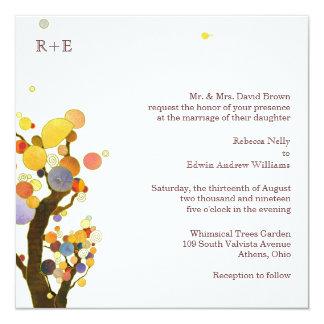 Chic Stylish Trees n Monograms White Wedding 13 Cm X 13 Cm Square Invitation Card
