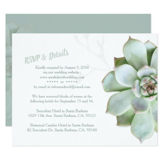 Chic Succulent Wedding RSVP & Accommodations Card