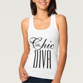 "CHIC T_""tres Chic DIVA""_BLACK/WHITE Singlet"
