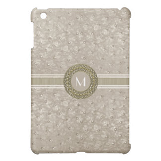 Chic tan Ostrich Leather Look Monogram Cover For The iPad Mini