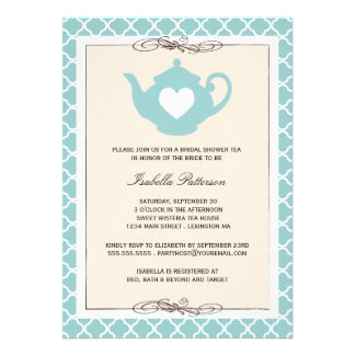 Chic Tan & Teal Teapot Bridal Shower Tea Party Personalized Announcements